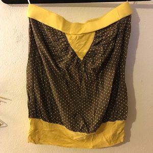 Yellow brown polka dot tube top